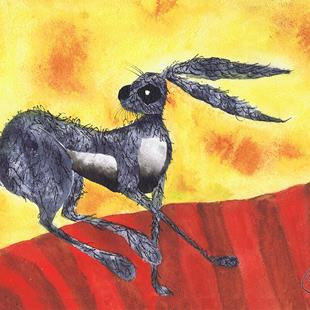 Art: RUNNING HARE h2420 by Artist Dawn Barker