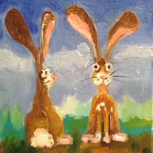 Art: Two Bunnies by Artist Delilah Smith