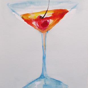 Art: Martini and Cherry by Artist Delilah Smith