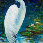 Art: SERENITY II GREAT WHITE EGRET OF FLORIDA by Marcia Baldwin