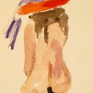 Art: Nude in Red Hat-sold by Artist Delilah Smith