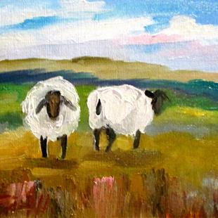 Art: Two Sheep in the Pasture by Artist Delilah Smith