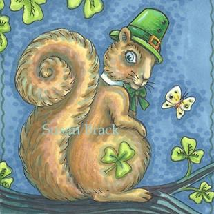 Art: ST. PADDY'S SQUIRREL by Artist Susan Brack