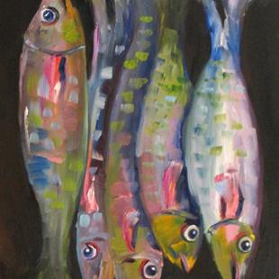 Art: Five Fish by Artist Delilah Smith
