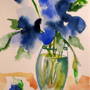 Art: Vase of Blue Flowers by Artist Delilah Smith