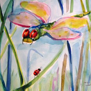 Art: Dragonfly and Ladybug by Artist Delilah Smith