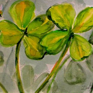Art: Shamrocks and Bee by Artist Delilah Smith