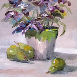 Art: Flowers and Pears by Artist Delilah Smith