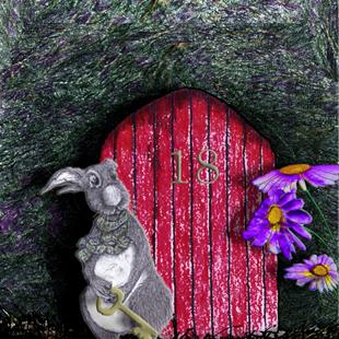 Art: RAYMOND'S ABODE r1021 rabbit hare by Artist Dawn Barker