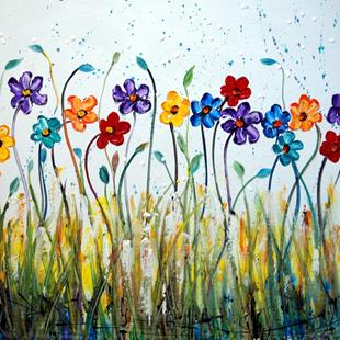 Art: DAISY DANCING FLOWERS by Artist LUIZA VIZOLI