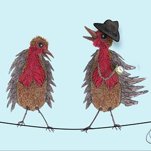 Art: TWO ROBINS b397 by Artist Dawn Barker