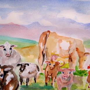 Art: Farm Animals by Artist Delilah Smith