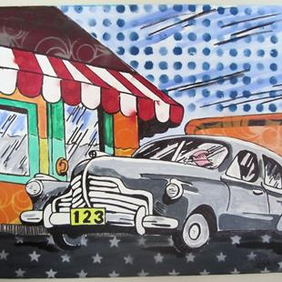 Art: Pop Graffiti Art Vintage Car by Artist Paul Lake, Lucky Studios