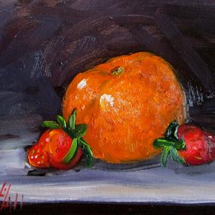Art: Orange and Strawberries by Artist Delilah Smith