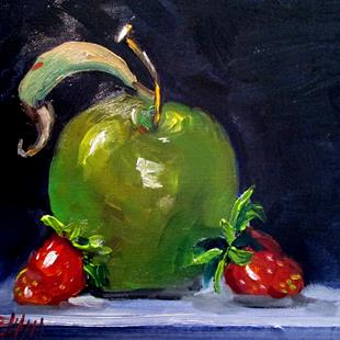 Art: Green Apple and Strawberries by Artist Delilah Smith