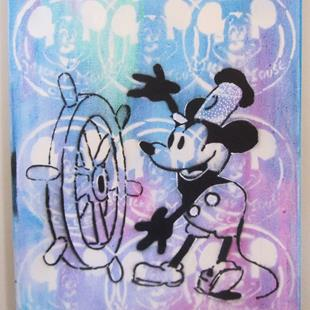 Art: Mickey Mouse Steamboat Willie Original Pop Graffiti Art by Artist Paul Lake, Lucky Studios