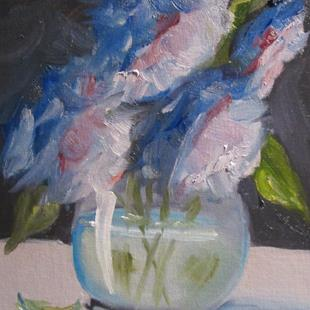 Art: Blue Flowers No. 2 by Artist Delilah Smith