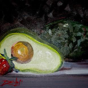 Art: Avocado and Strawberry by Artist Delilah Smith