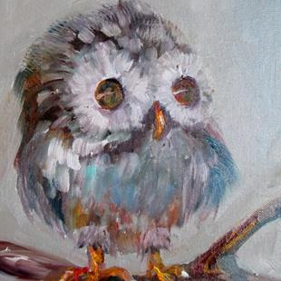 Art: Fuzzy Baby Owl by Artist Delilah Smith