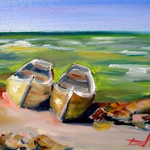 Art: Two Row Boats by Artist Delilah Smith