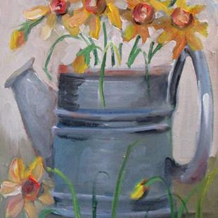 Art: Watering Can and Daffodils by Artist Delilah Smith