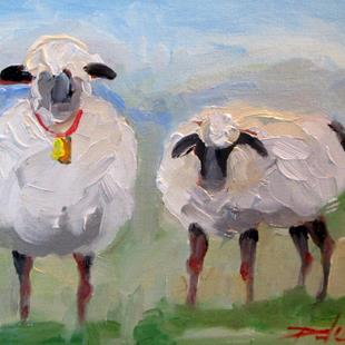 Art: Two Lambs by Artist Delilah Smith