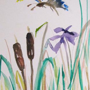 Art: Cattails and Butterfly by Artist Delilah Smith