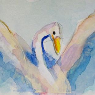 Art: Aceo Swan by Artist Delilah Smith