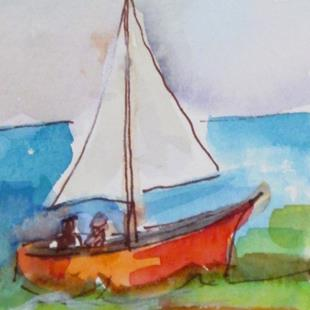 Art: Sailboat Aceo by Artist Delilah Smith