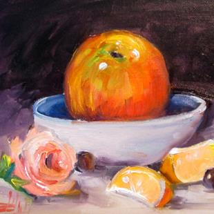 Art: Apple and Rose Still Life by Artist Delilah Smith