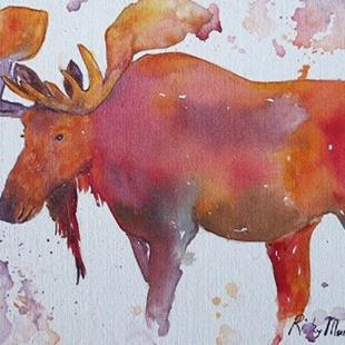 Art: Moose - sold by Artist Ulrike 'Ricky' Martin