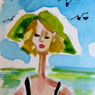 Art: Green Hat by Artist Delilah Smith