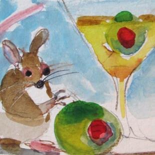 Art: Mouse and Olive Martini by Artist Delilah Smith