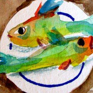 Art: Fish on a Plate by Artist Delilah Smith