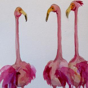 Art: Three Long Necked Flamingos by Artist Delilah Smith