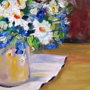 Art: Blue and White Flowers by Artist Delilah Smith