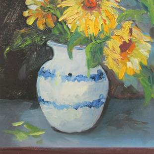 Art: Sunflowers in a Vase by Artist Delilah Smith