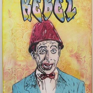 Art: Pee Wee Herman Lamp Shade Original Graffiti by Artist Paul Lake, Lucky Studios