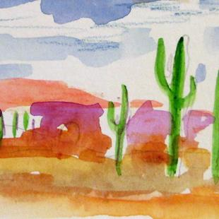 Art: Desert Cactus aceo by Artist Delilah Smith
