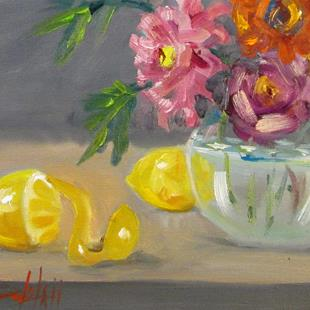Art: Floral Still Life with Lemons by Artist Delilah Smith
