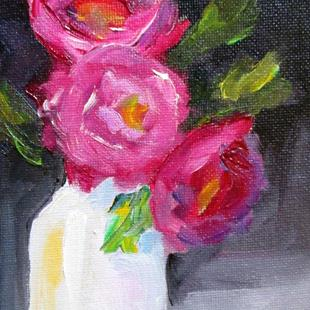 Art: Roses in a White Vase by Artist Delilah Smith