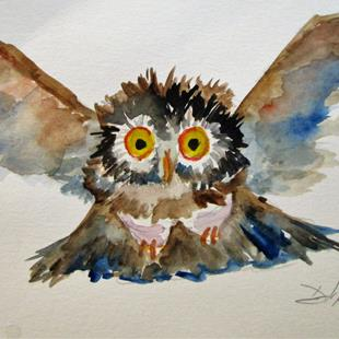 Art: Flying Owl by Artist Delilah Smith