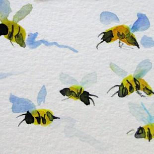 Art: Lots of Bees by Artist Delilah Smith