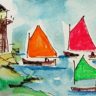 Art: Sailboats and Light House by Artist Delilah Smith