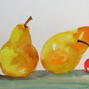 Art: Two Pears and a Cherry by Artist Delilah Smith