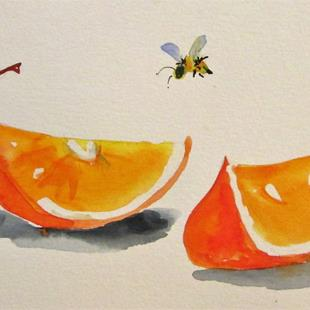 Art: Orange Slice and Cherry by Artist Delilah Smith