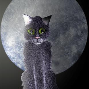 Art: CAT with MOON c350 by Artist Dawn Barker