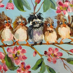 Art: Chubby Birds and Apple Blossoms by Artist Delilah Smith