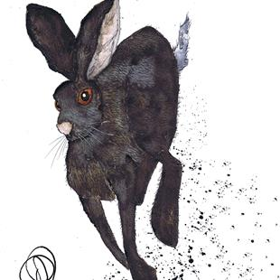Art: RUNNING HARE h3336 by Artist Dawn Barker