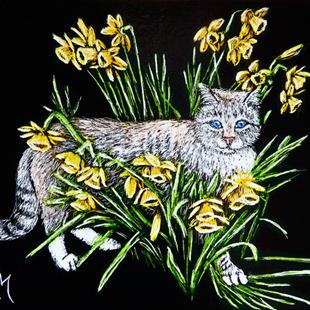 Art: In The Daffodils  (SOLD) by Artist Monique Morin Matson